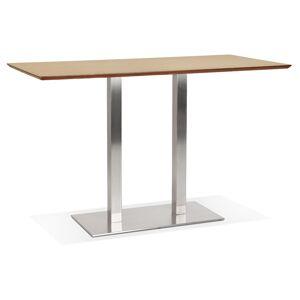 Table haute design 'MAMBO BAR' en bois finition naturelle avec pied en métal brossé - 180x90 cm - Publicité