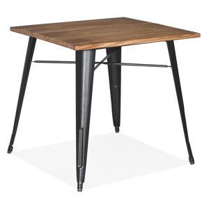 Table carrée style industriel 'MARCUS' en bois foncé et pieds en métal noir - 76x76 cm - Publicité