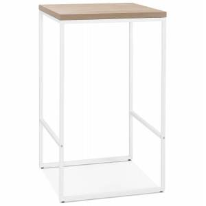 Table haute design 'STRAMOS' finition naturelle avec structure blanche vouée aux pro de la restauration - Publicité