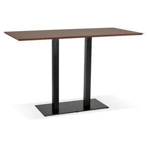 Table haute design 'ZUMBA BAR' en bois finition Noyer avec pied en métal noir - 180x90 cm - Publicité