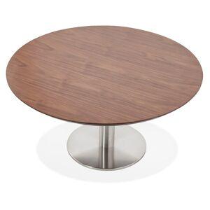 Table basse lounge AGUA en bois finition Noyer - Ø 90 cm - Publicité