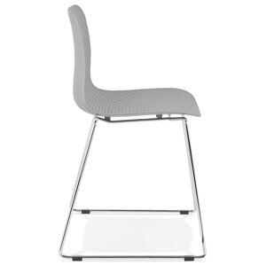 Chaise moderne 'EXPO' grise avec pieds en métal chromé - Publicité