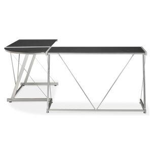 Grand bureau d'angle 'GEEK' design en verre noir - Publicité