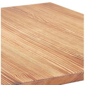Table haute style industriel 'GRAMY' en bois foncé et pieds en métal gris - 70x70 cm - Publicité