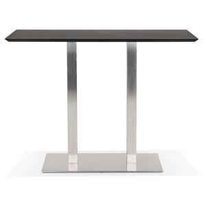 Table haute design 'MAMBO BAR' noire avec pied en métal brossé - 150x70 cm - Publicité