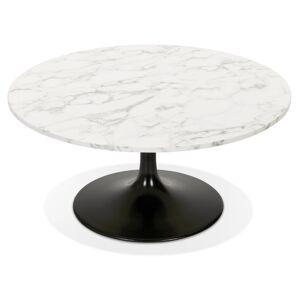 Table basse de salon 'URSUS MINI' en pierre blanche effet marbre avec un pied central noir - Publicité