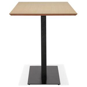 Table haute design 'ZUMBA BAR' en bois finition naturelle avec pied en métal noir - 180x90 cm - Publicité