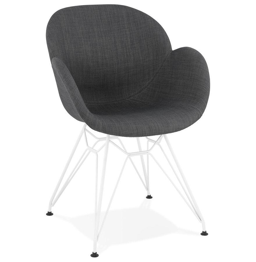 Chaise moderne 'ATOL' en tissu gris foncé avec pieds en métal blanc