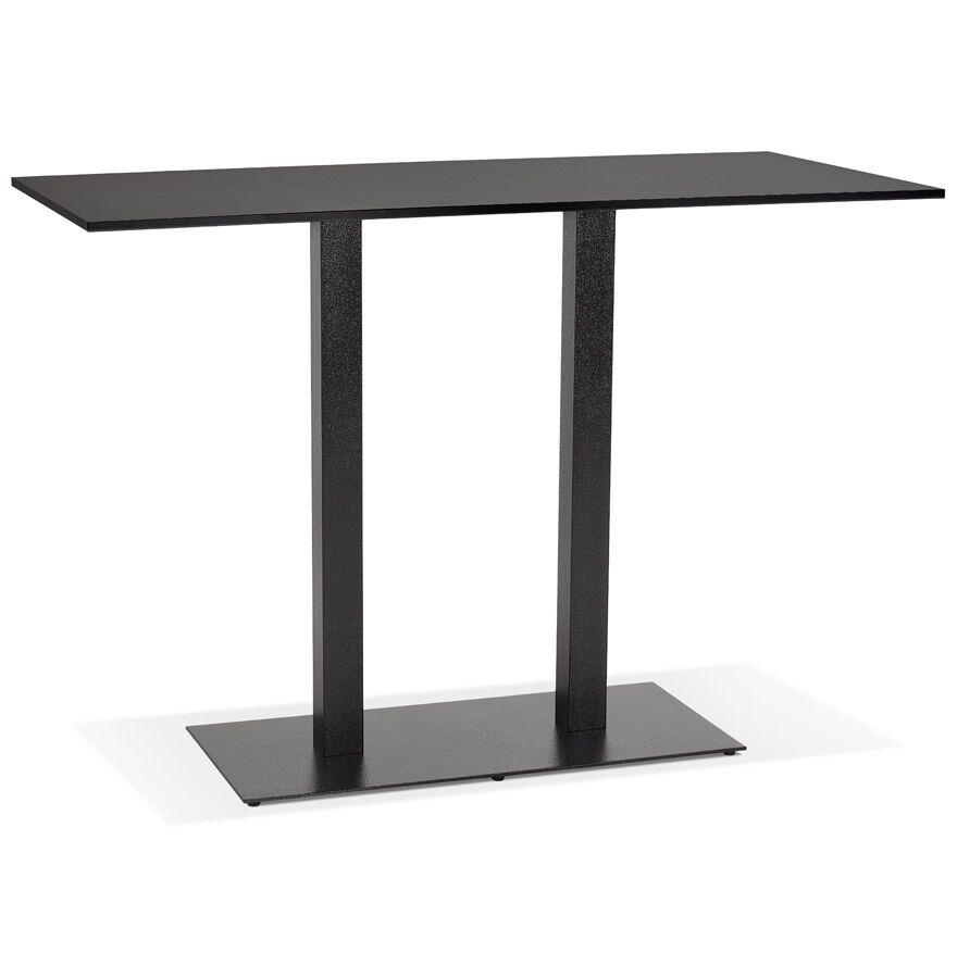 Mange-debout design 'AUSTIN BAR' noir avec pied en métal noir - 160x80 cm