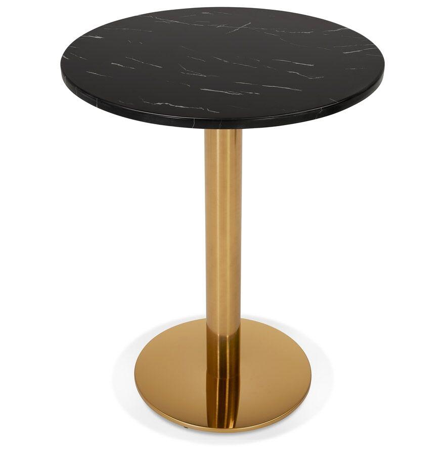 Petite table bistrot ronde 'BATIGNOL' en pierre noire effet marbre et pied en métal doré - Ø 60 cm