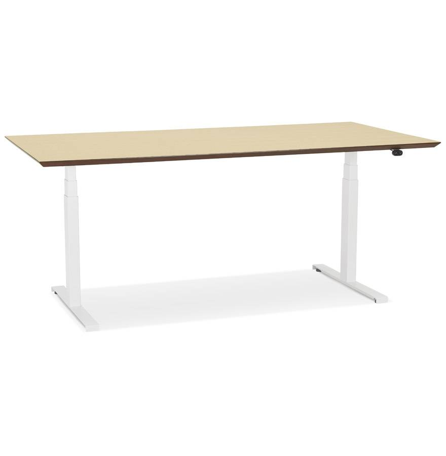 Bureau assis-debout électrique 'BIONIK'avec plateau en bois finition naturelle et pied en métal blanc - 180x90 cm