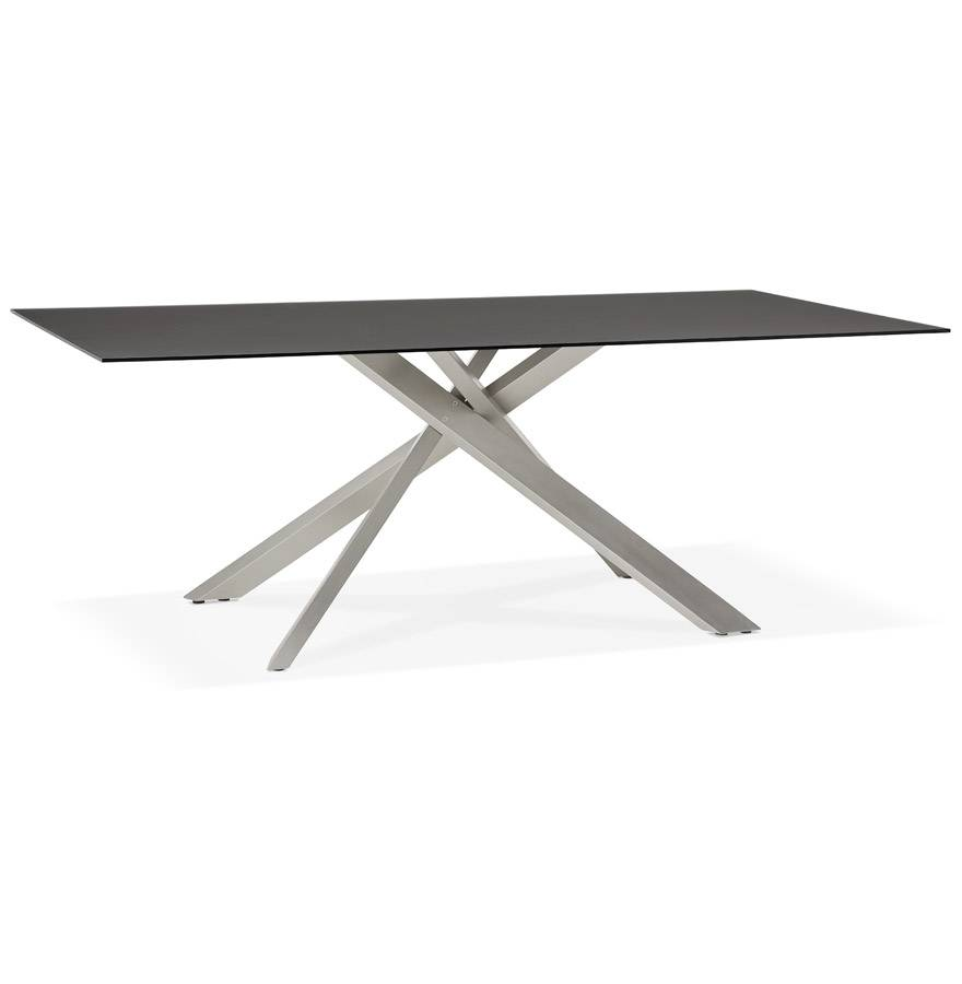 Table à diner design 'BIRDY' en verre noir avec pied central en métal - 200x100 cm