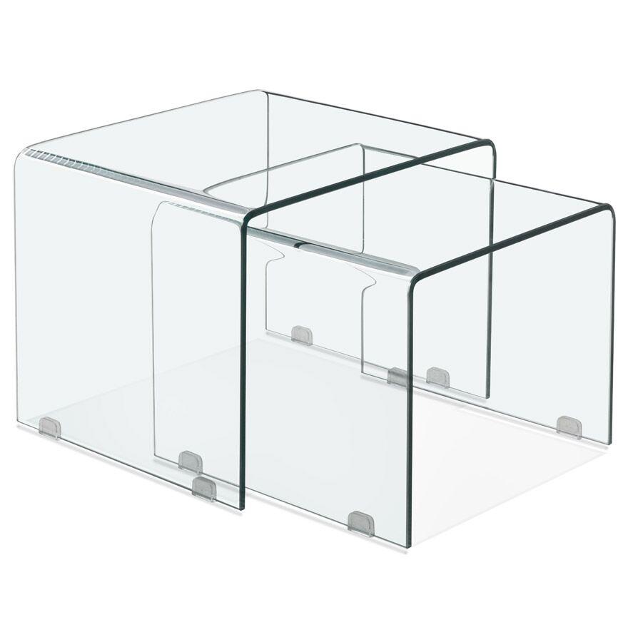 Set de 2 tables gigognes design emboîtables 'BOBBY DOUBLE SIDE' en verre transparent