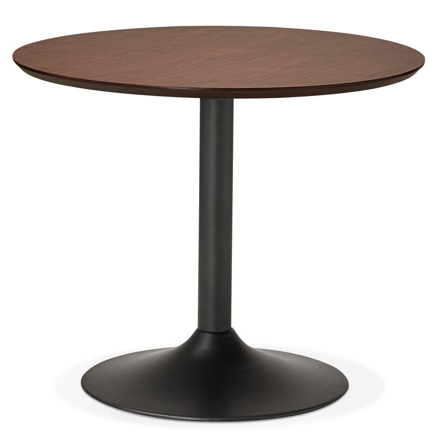 Petite table de bureau / à diner ronde 'CHEF' en bois finition Noyer - Ø 90 cm