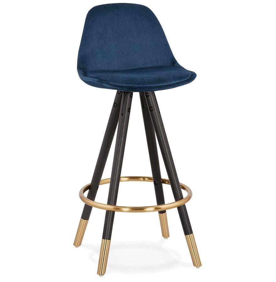 Tabouret snack mi-hauteur design 'CHICAGO MINI' en velours bleu et 4 pieds en bois noir