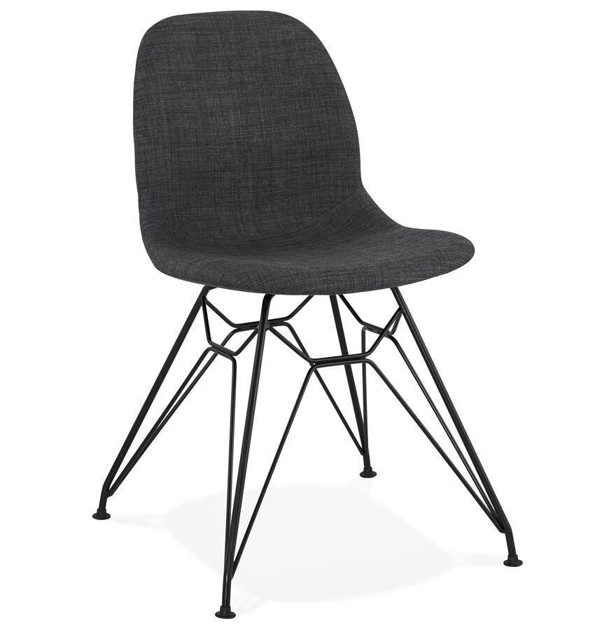 Chaise design 'DECLIK' gris foncé avec pieds en métal noir