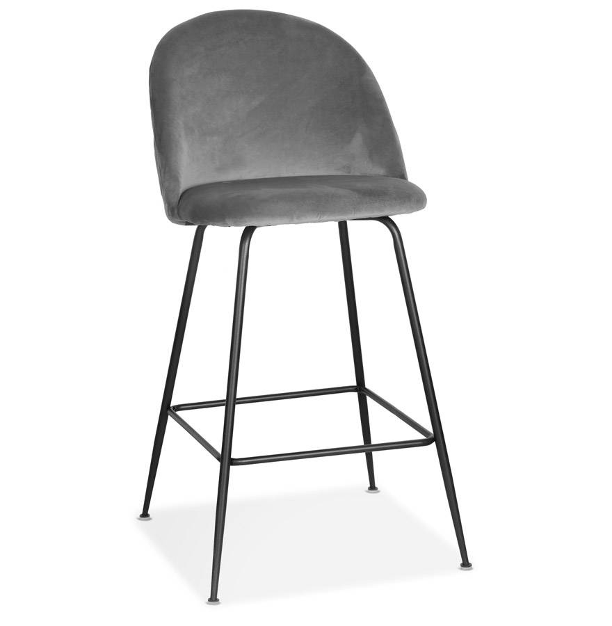 Tabouret de bar 'DUPONT' en velours gris clair et métal noir - commande par 2 pièces / prix pour 1 pièce