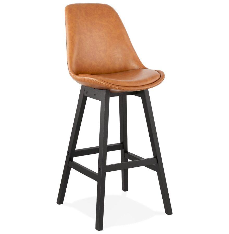 Tabouret de bar 'ELENA' brun en matière synthétique et pied en bois noir