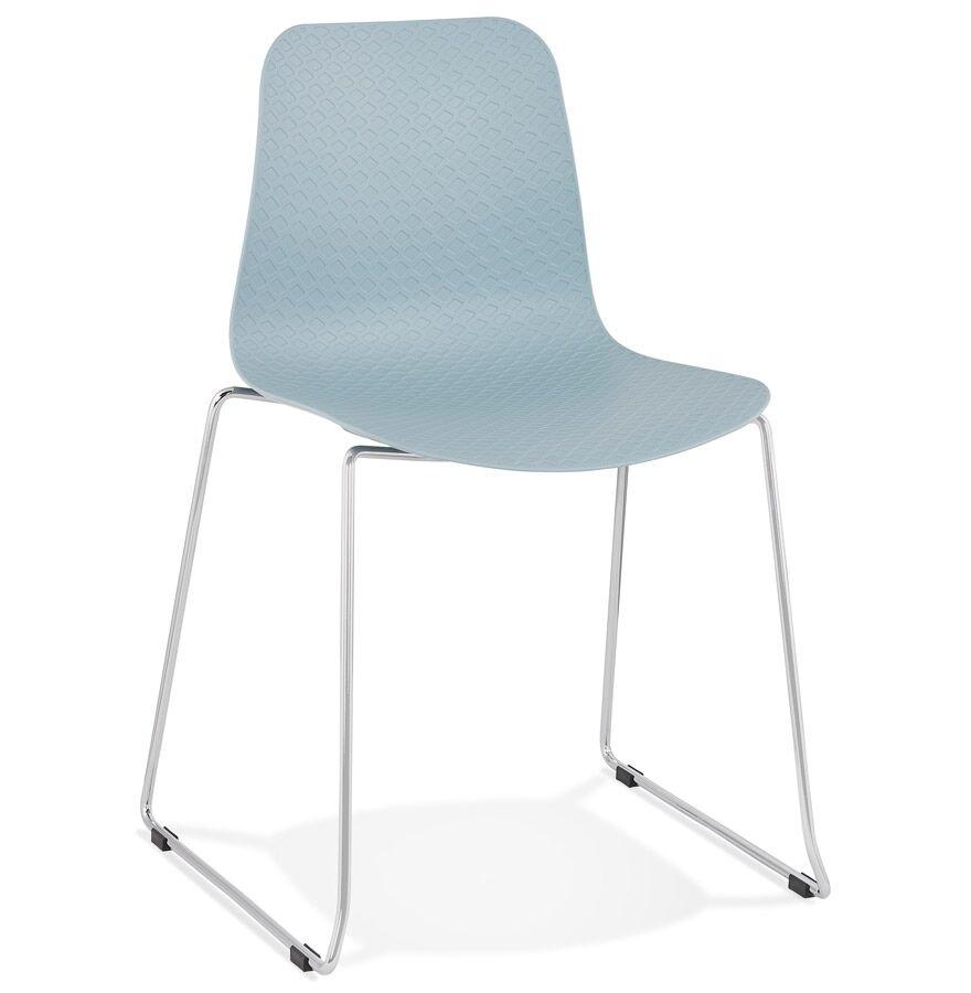Chaise moderne 'EXPO' bleue avec pieds en métal chromé