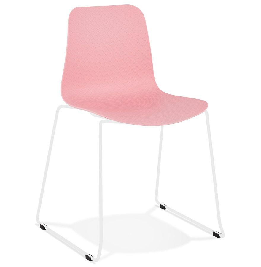 Chaise moderne 'EXPO' rose avec pieds en métal blanc