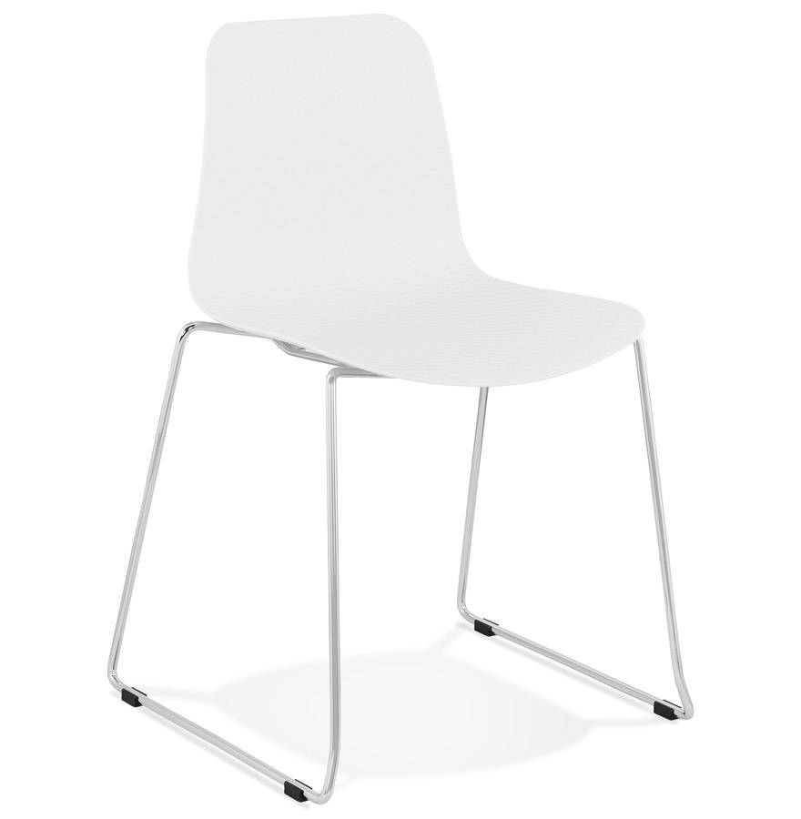 Chaise moderne 'EXPO' blanche avec pieds en métal chromé