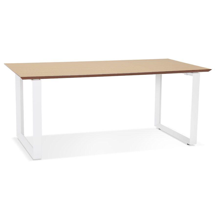 Grand bureau droit de direction 'GIMINI' en bois finition naturelle et métal blanc - 180x90 cm