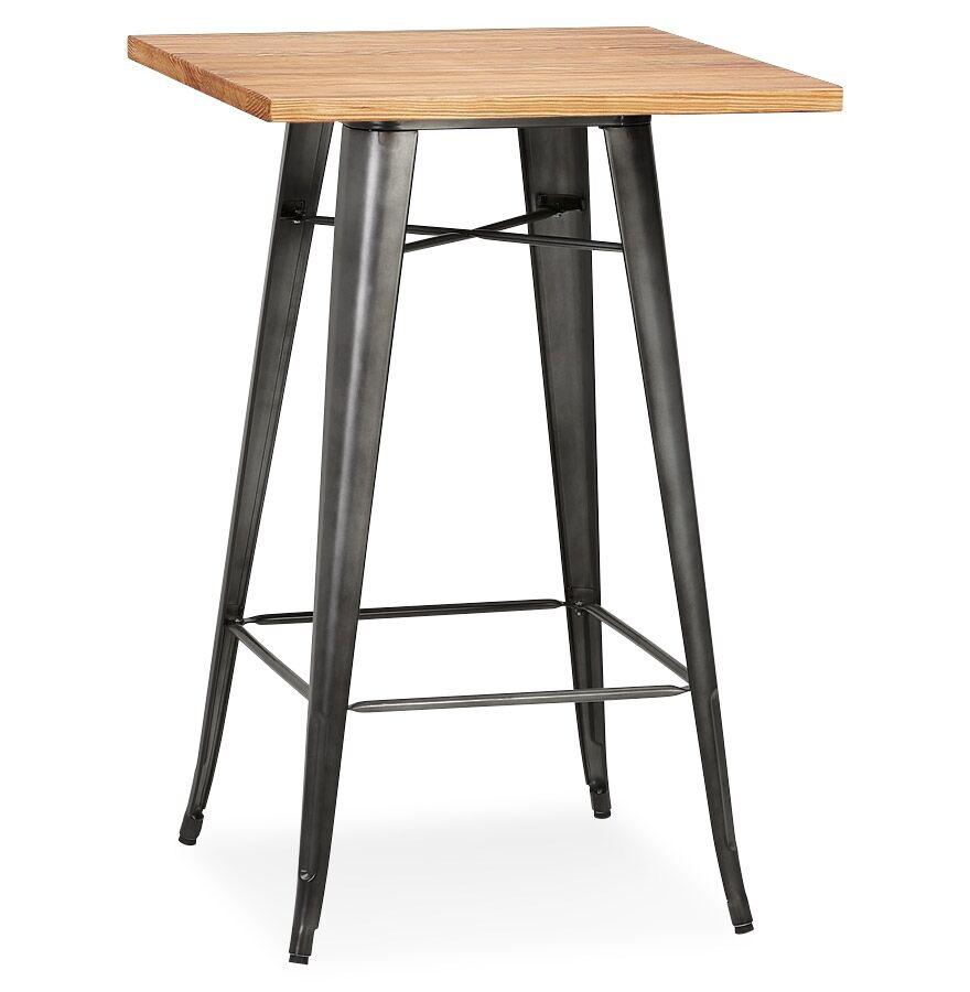 Table haute style industriel 'GRAMY' en bois foncé et pieds en métal gris - 70x70 cm