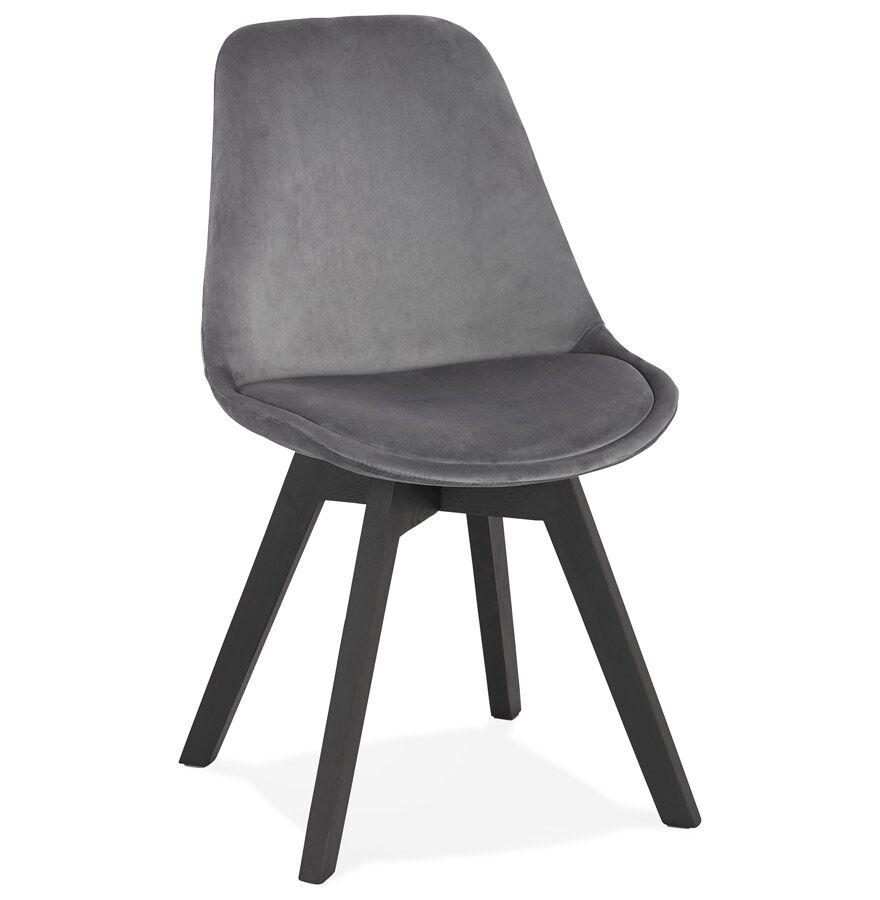 Chaise en velours gris 'JOE' avec structure en bois noir