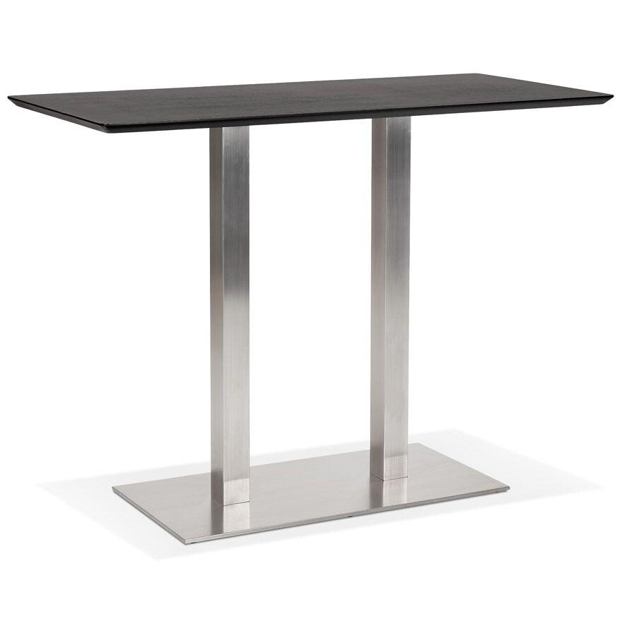 Table haute design 'MAMBO BAR' noire avec pied en métal brossé - 150x70 cm