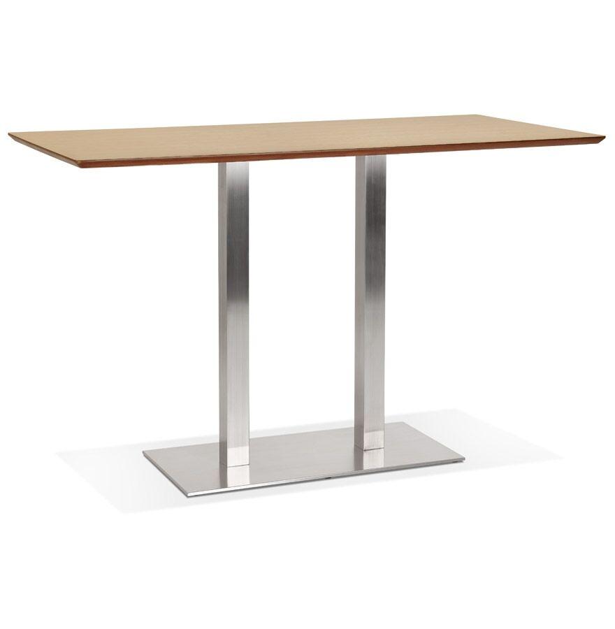 Table haute design 'MAMBO BAR' en bois finition naturelle avec pied en métal brossé - 180x90 cm