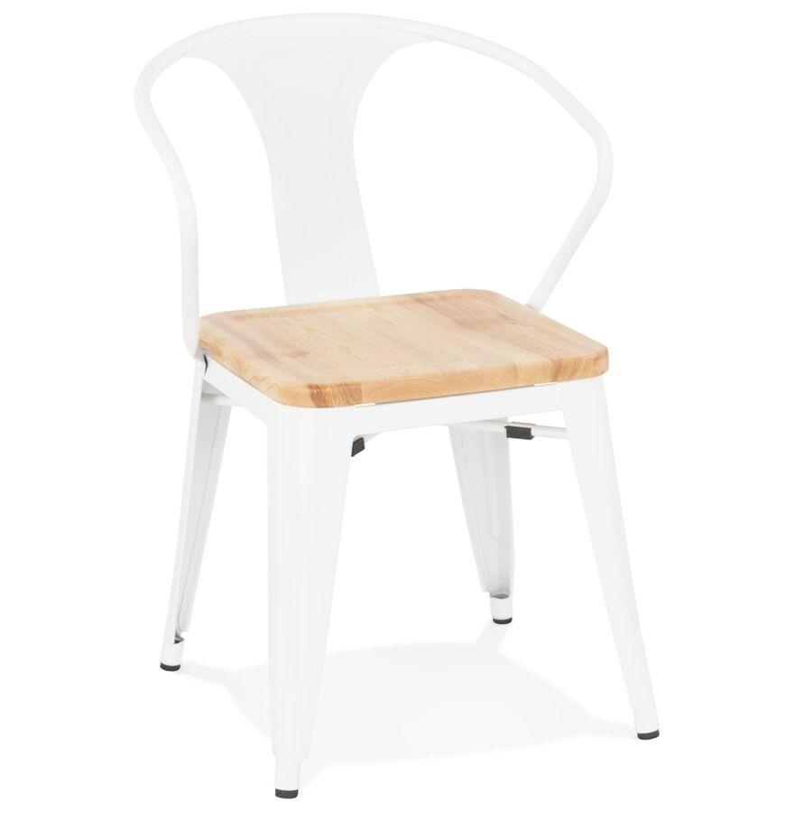 Chaise style industriel 'METROPOLIS' en métal blanc - commande par 2 pièces / prix pour 1 pièce