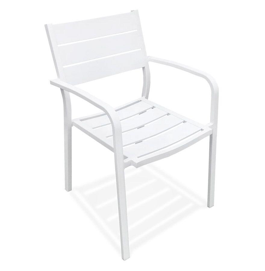 Chaise de jardin empilable 'MOREA' en aluminium blanc avec accoudoirs