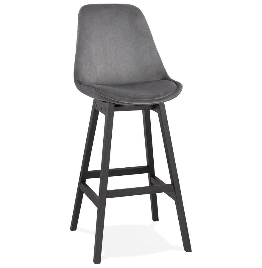 Tabouret de bar 'MORISS' en velours gris et pieds en bois noir
