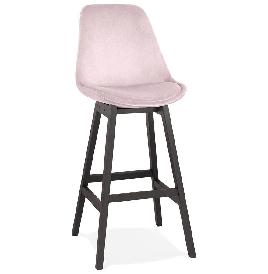Tabouret de bar 'MORISS' en velours rose et pieds en bois noir