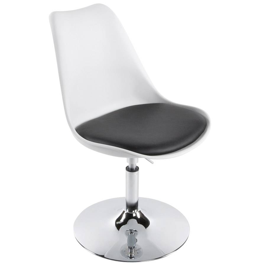 chaise moderne pivotante 'queen' réglable blanche et noir