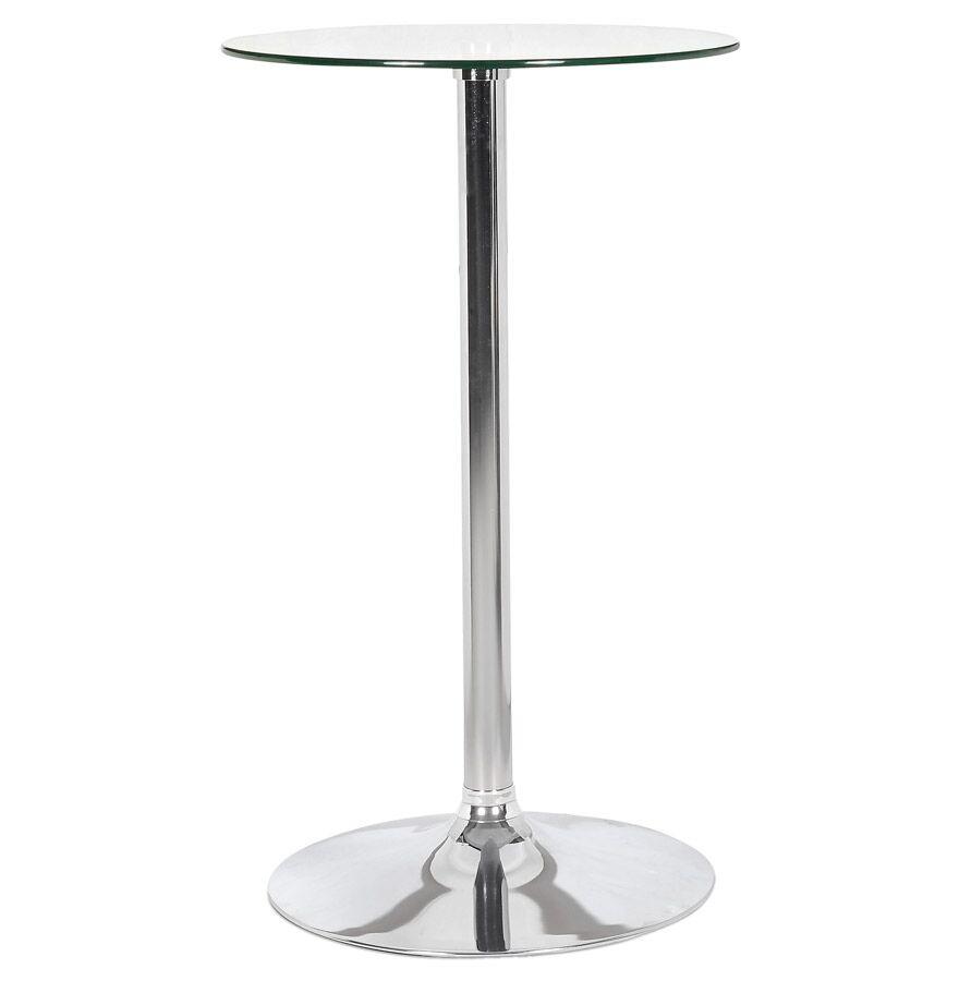 Table de bar haute 'TAKI' en verre avec pied chromé