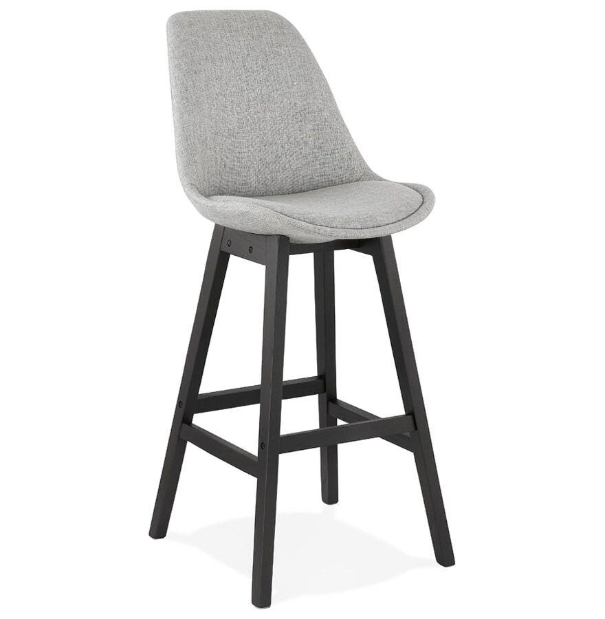Tabouret de bar design 'TERESA' en tissu gris et pied en bois noir