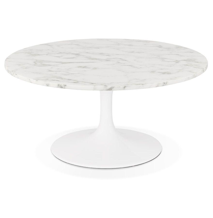 Table basse de salon 'URSUS MINI' blanche en pierre effet marbre avec un pied central