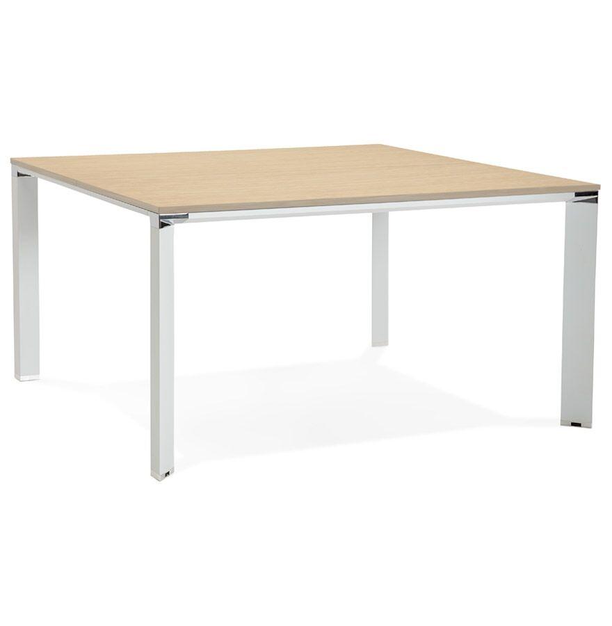 Table de réunion / bureau bench 'XLINE SQUARE' en bois finition naturelle et métal blanc - 140x140 cm