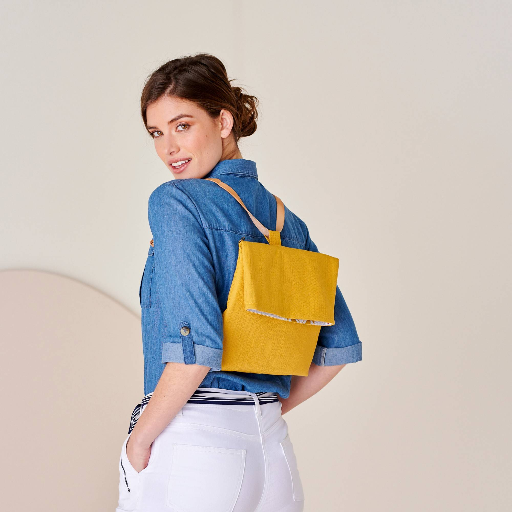 Sac à dos transformable en besace - curry, fabrication éco-responsable - jaune - Taille : TU - Blancheporte