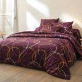 Blancheporte Linge de lit Noémie polyester-coton prune Drap-housse 2 pers : 160x200cm