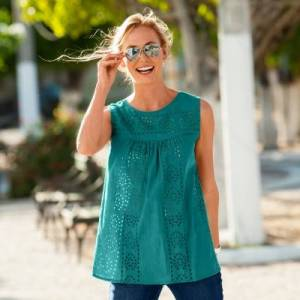 Blancheporte Blouse col rond broderie anglaise - menthe