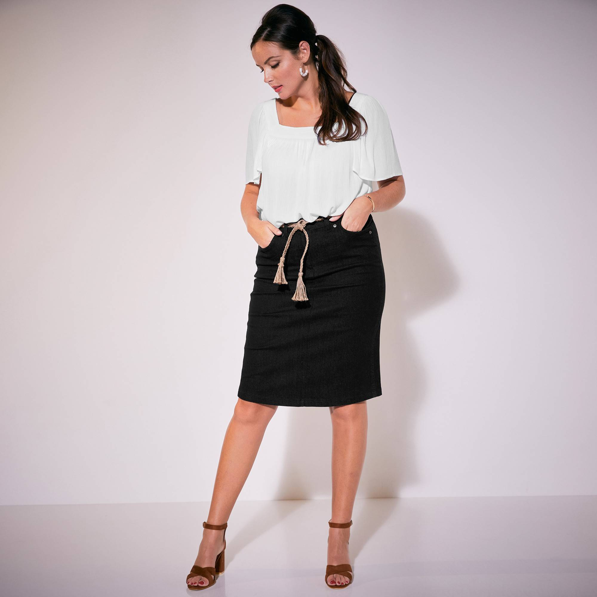 Isabella Blouse col carré - blanc - Taille : 44 - Blancheporte