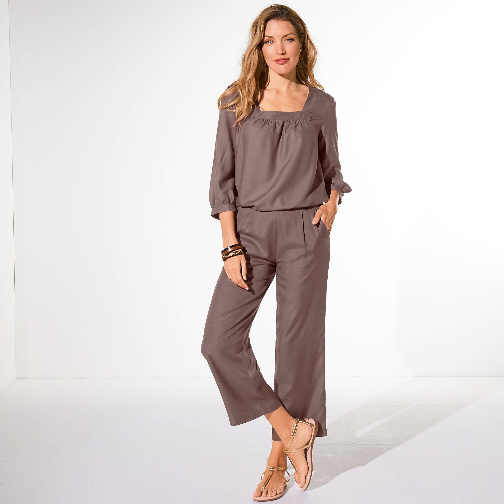 Blouse col carré unie - taupe - Taille : 40 - Blancheporte