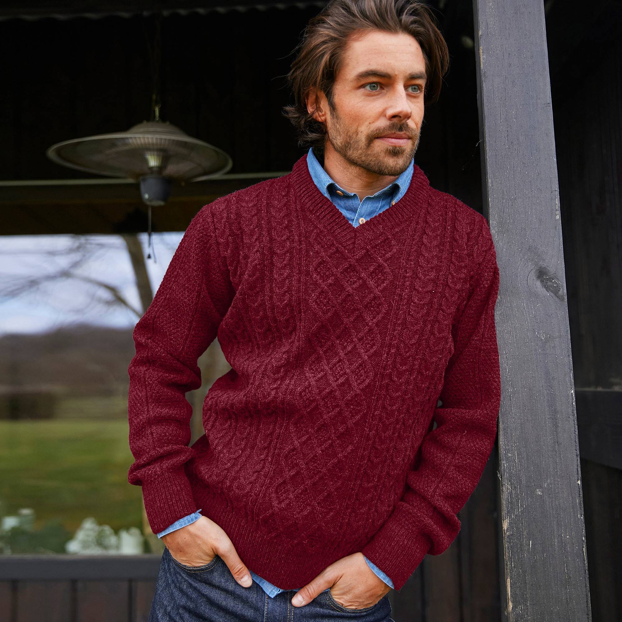 Pull irlandais col V - rouge - Taille : L - Blancheporte