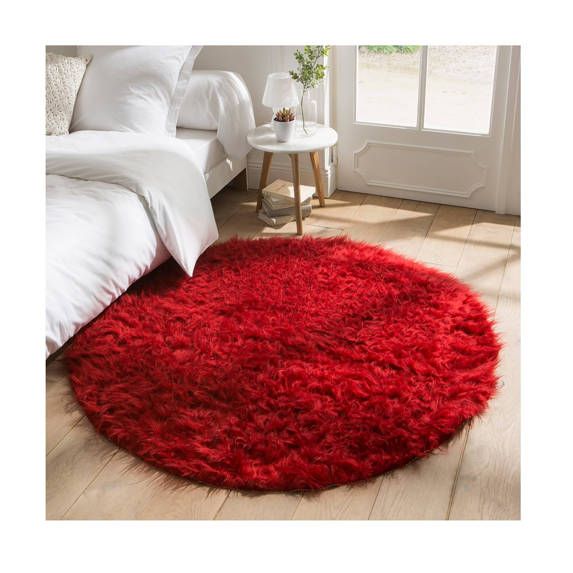Tapis rond poils longs - rouge - Blancheporte
