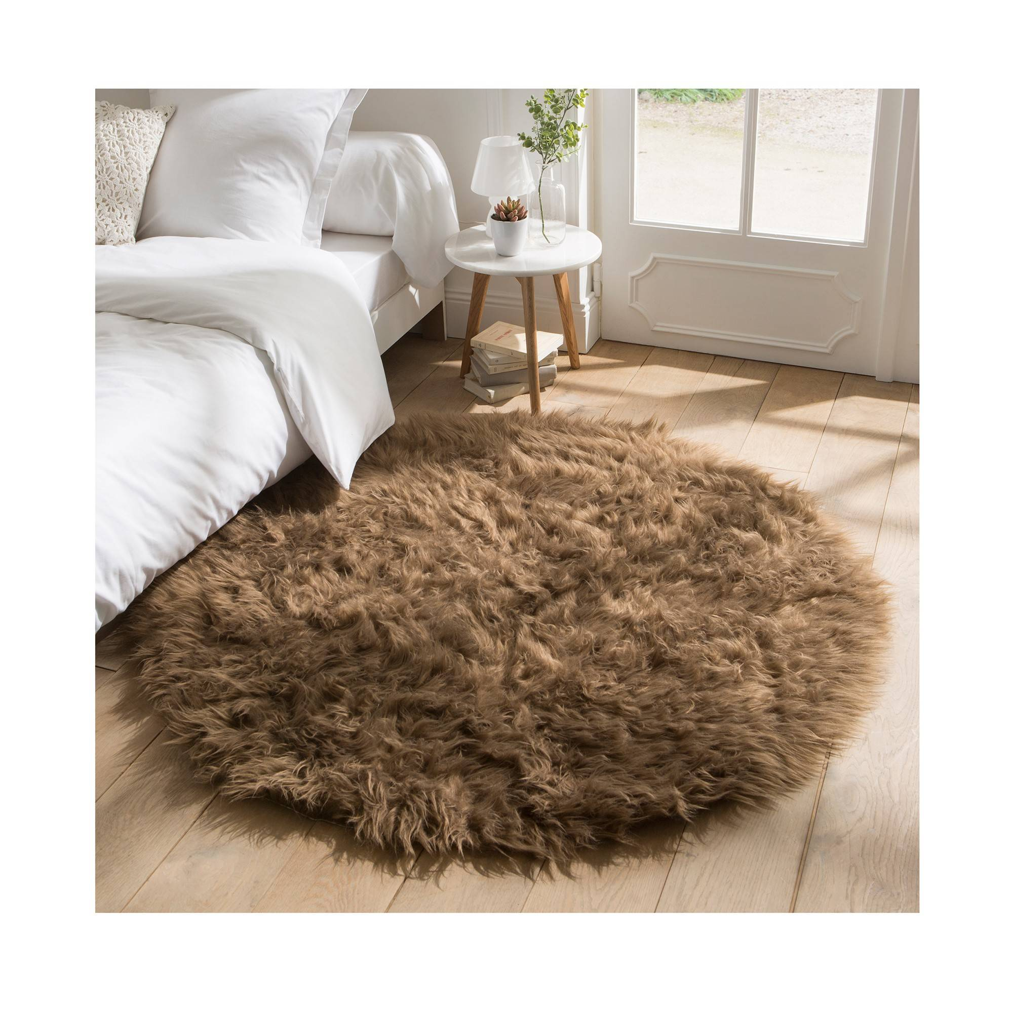 Tapis rond poils longs - taupe - Blancheporte