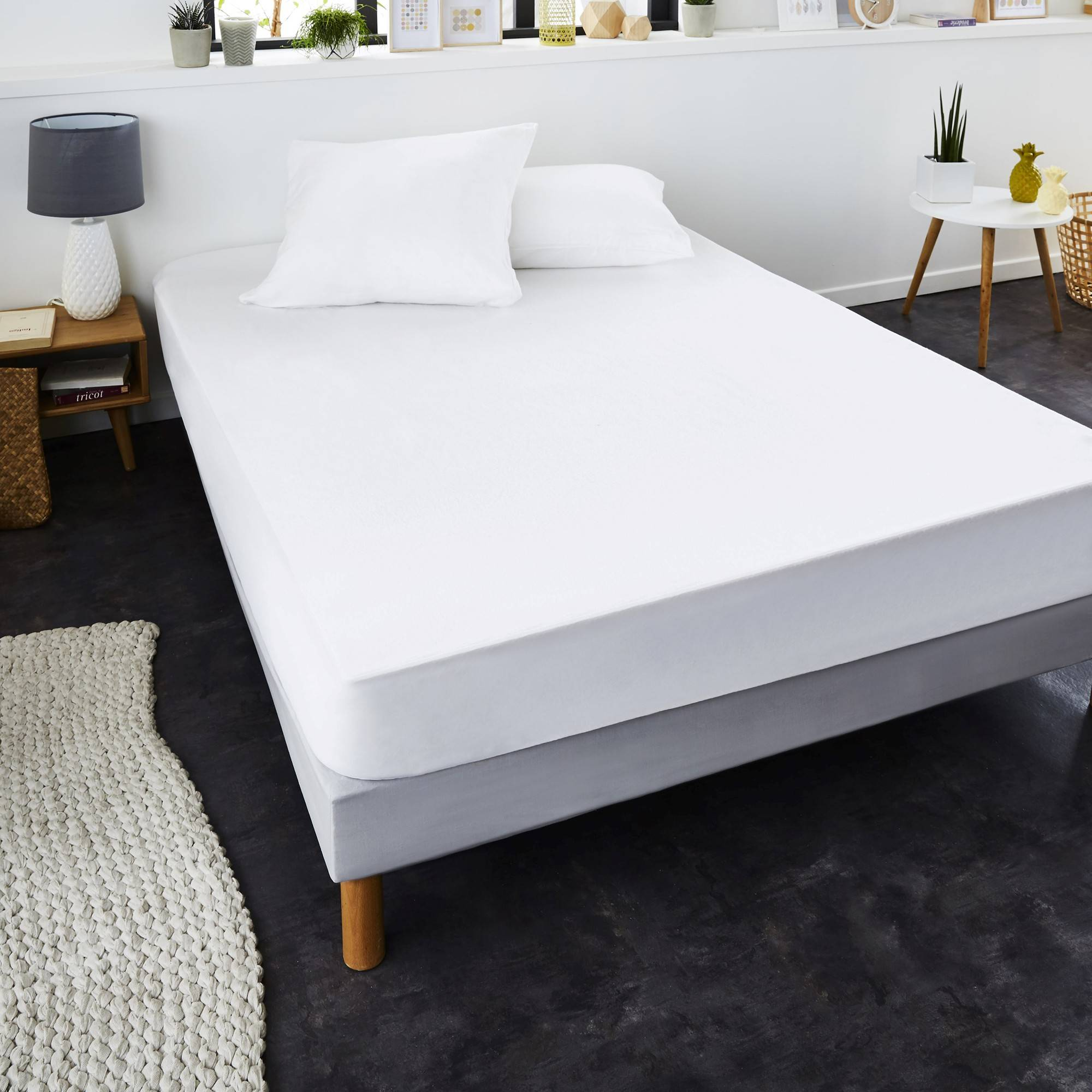 Protège matelas 2 pers 140x200cm - blanc - Protège-matelas anti-acariens Greenfirst® molleton absorbant - Blancheporte