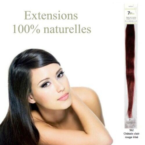 7ème élément Mèches extensions cheveux naturels 562 - chatain clair rouge irisé