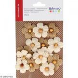Artemio 11060405 Set de 15 Fleurs avec Perle, Toile, Beige, 11,5 x 0,5 x 19 cm